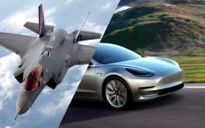 Los módulos Tesla Modelo 3 vs Controlador aéreo F-35